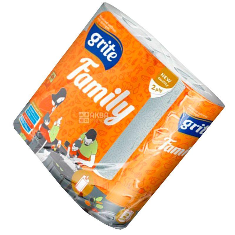 Grite, Family, 2 рул., Полотенца бумажные Грите Фемили, 2-х слойные, 224х180 мм