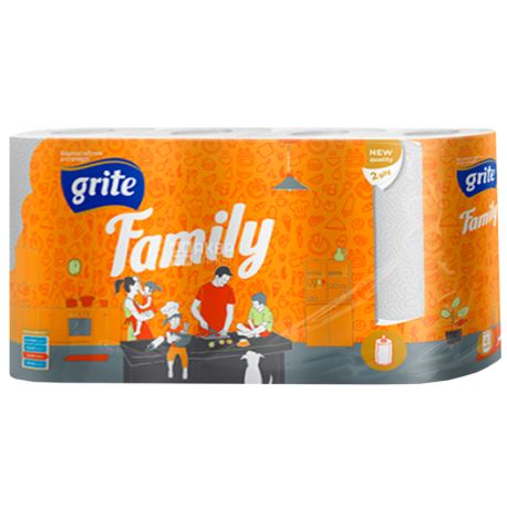 Grite, Family, 4 рул., Рушники паперові Гріте Фемілі, 2-шарові, 224х180 мм