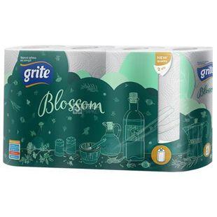 Grite, Blossom, 4 рул., Полотенца бумажные Грите Блоссом, 2-х слойные, 224х180 мм