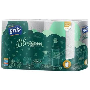 Grite, 4 рулона, Рушники паперові, Двошарові, Blossom