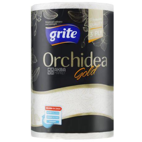 Grite, Orchidea gold, 1 рул., Полотенца бумажные Грите Орхидея голд, 3-х слойные, 41 м