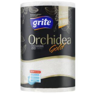 Grite, 1 рулон, Рушники паперові, Тришарові, Orchidea gold