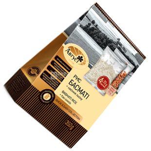 Август, 0,35 кг, Рис Басматі в пакетиках, 4 пак по 70 г + пакетик 70 г з насінням льону в подарунок