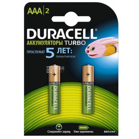 Duracell, AAA, 2 шт., Аккумуляторы 850mAh TURBO, HR03