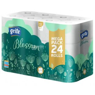Grite, 24 Rolls, Toilet Paper, Blossom, Three Layer