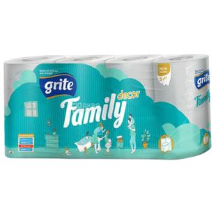 Grite, 8 rolls, Toilet paper, Family decor, Three-ply