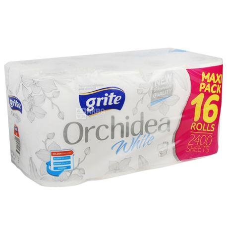 Grite Orchidea White, 16 рул., Туалетная бумага Грите Орхидея Вайт, 3-х слойная