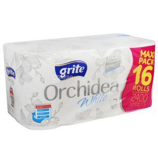 Grite, 16 рулонов, Туалетний папір, Orchidea white, Тришаровий
