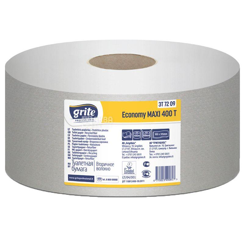 Grite Jumbo Economy Maxi, 1 рул., Туалетная бумага Грите Джамбо Эконом Макси, 1-слойная, 400 м