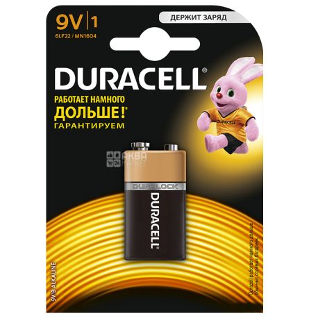 Duracell, 9V B, Alkaline, 1 шт., Батарейки, 6LR61