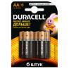 Duracell, AA, 6 шт., Батарейки, Basic, LR6