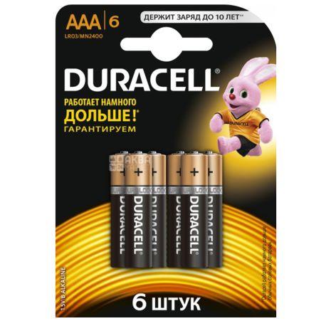 Duracell, Basic, AAА, 6 шт., Батарейки алкалінові