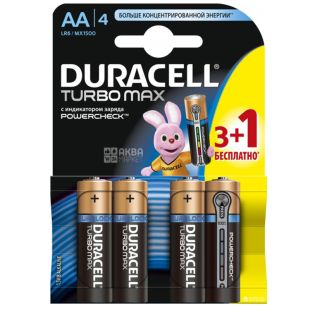 Duracell, AA, 3+1 шт., Батарейки, Turbo MAX