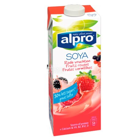 Alpro, Soya Fruit Rouges, 1 л, Алпро, Соевое молоко, Красные фрукты, с кальцием, витаминизированное