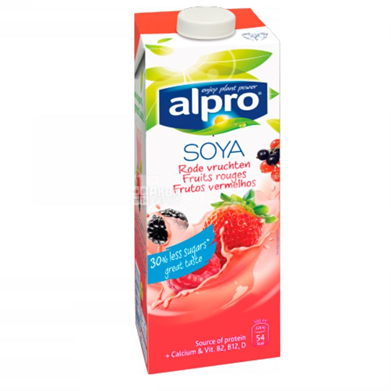 Alpro, Soya Fruit Rouges, Упаковка 8 шт. по 1 л, Алпро, Соєве молоко, Червоні фрукти, з кальцієм, вітамінізоване