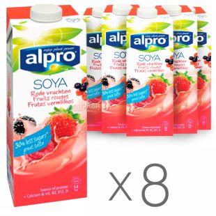 Alpro, Упаковка 8 шт. по 1 л, Напій соєвий, Червоні фрукти з кальцієм