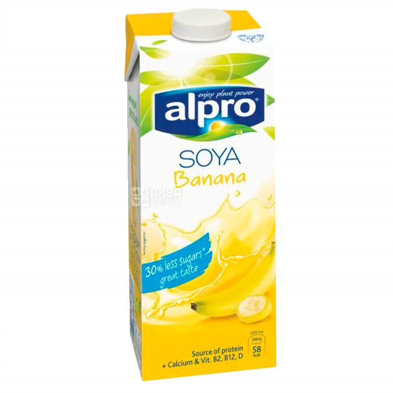 Alpro, Soya Banana, Упаковка 8 шт. по 1 л, Алпро, Соєве молоко, зі смаком банана, вітамінізоване