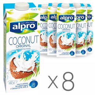 Alpro Coconut, Упаковка 8 шт. по 1 л, Напиток соевый, Кокосовый