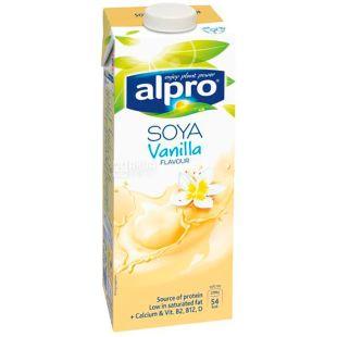 Alpro, Soya Vanilla, Упаковка 8 шт. по 1 л, Алпро, Соевое молоко с ванилью, витаминизированное