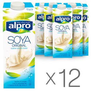 Alpro, Soya Original, Упаковка 12 шт. по 1 л, Алпро, Соєве молоко, оригінальне, вітамінізоване