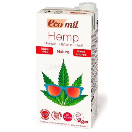 Ecomil, 1 liter, Herbal drink, Hemp without sugar, Tetra Pak