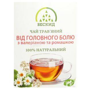 Бескид, Чай трав'яний Від головного болю, З валеріаною і ромашкою, 100 г