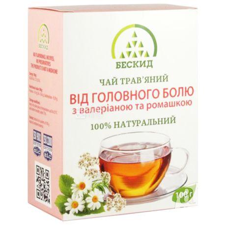 Бескид, 100 г, Чай травяной, От головной боли, С валерианой и ромашкой