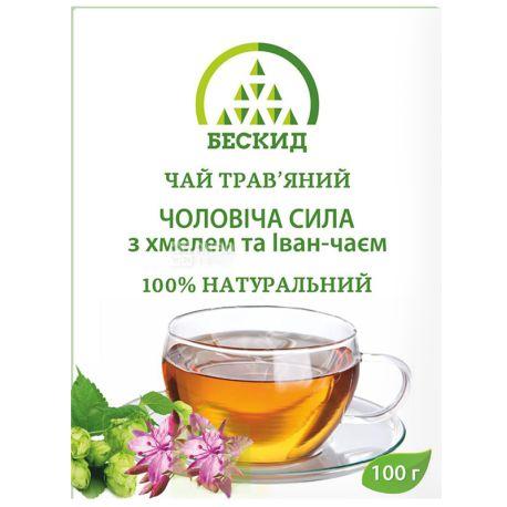 Бескид, Чоловіча сила, 100 г, Чай трав'яний, з хмелем та іван-чаєм