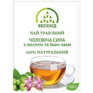 Бескид, 100 г, Чай трав'яний, Чоловіча сила, З хмелем та іван-чаєм