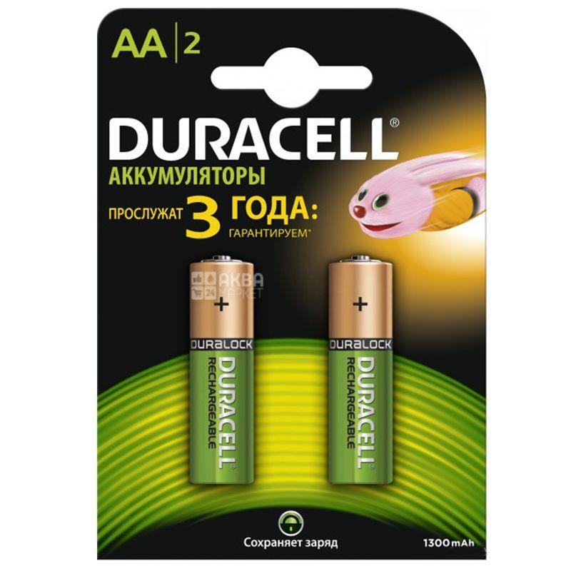 Duracell, 2 шт., AА, Аккумуляторы, 1300 mAh