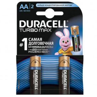 Duracell, 2 шт., АА, Батарейки, Turbo Max