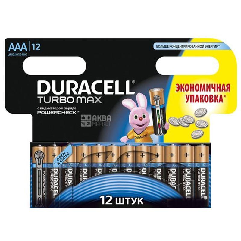 Duracell, 12 шт., ААА, Батарейки, Turbo Max