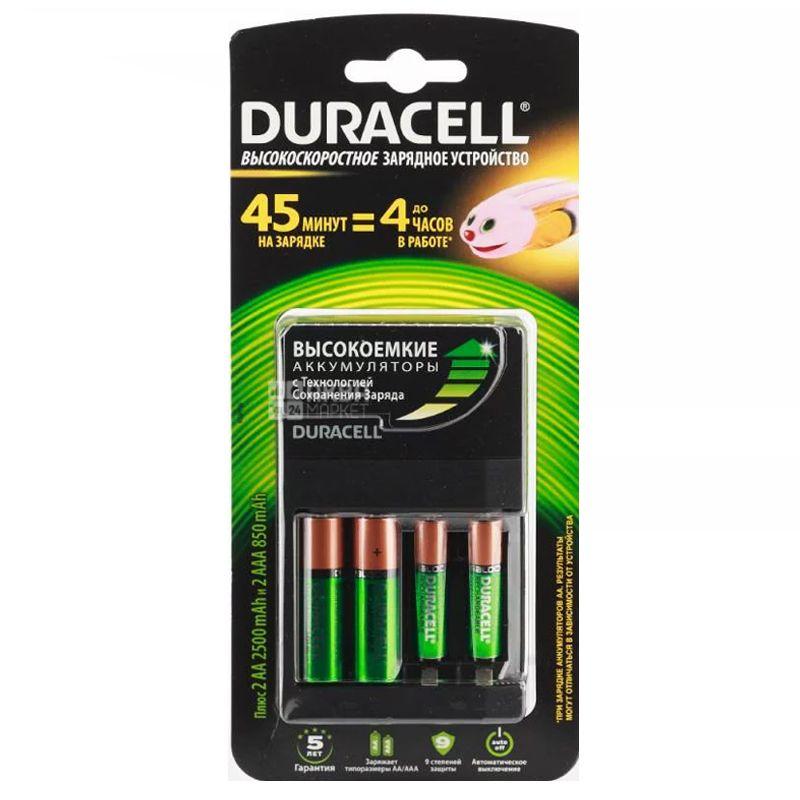Duracell, 2АА + 2ААА, Зарядное устройство + 4 аккумуляторы в комплекте, CEF14
