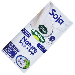 NaturGreen, 1 л, Органический напиток из сои, Без сахара, Тетра пак