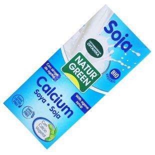 NaturGreen, 1 л, Органический напиток из сои, Агава с кальцием, Тетра пак