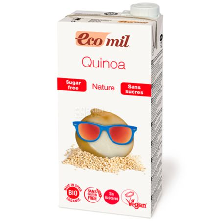 Ecomil, Quinoa, 1 л, Екоміл, Рослинний напій з кіноа і сиропом агави, без цукру
