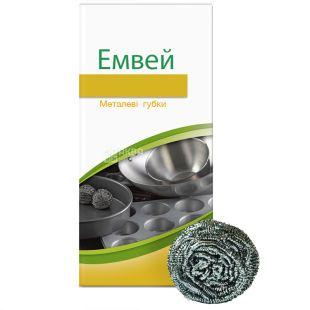 Emvey, 4 pcs., Metal sponge, DISH DROPS