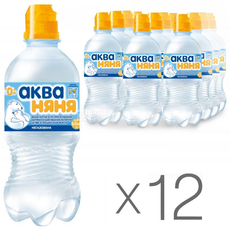 Аква Няня, 0,33 л, Упаковка 12 шт., Вода детская негазированная, с первых дней жизни, ПЭТ