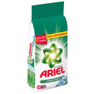 Ariel, 9 kg, Washing powder, For white linen, Mountain spring, Automatic