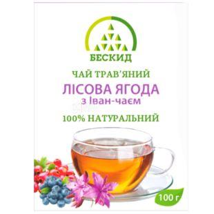 Бескид, Лісова ягода, 100 г, Чай трав'яний, з іван-чаєм