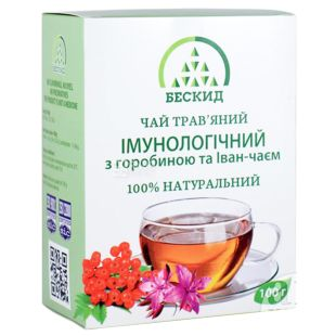Бескид, Імунологічний, 100 г, Чай трав'яний, з горобиною та іван-чаєм