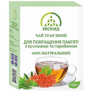 Бескид, Для улучшения памяти, 100 г, Чай травяной, с крапивой и рябиной