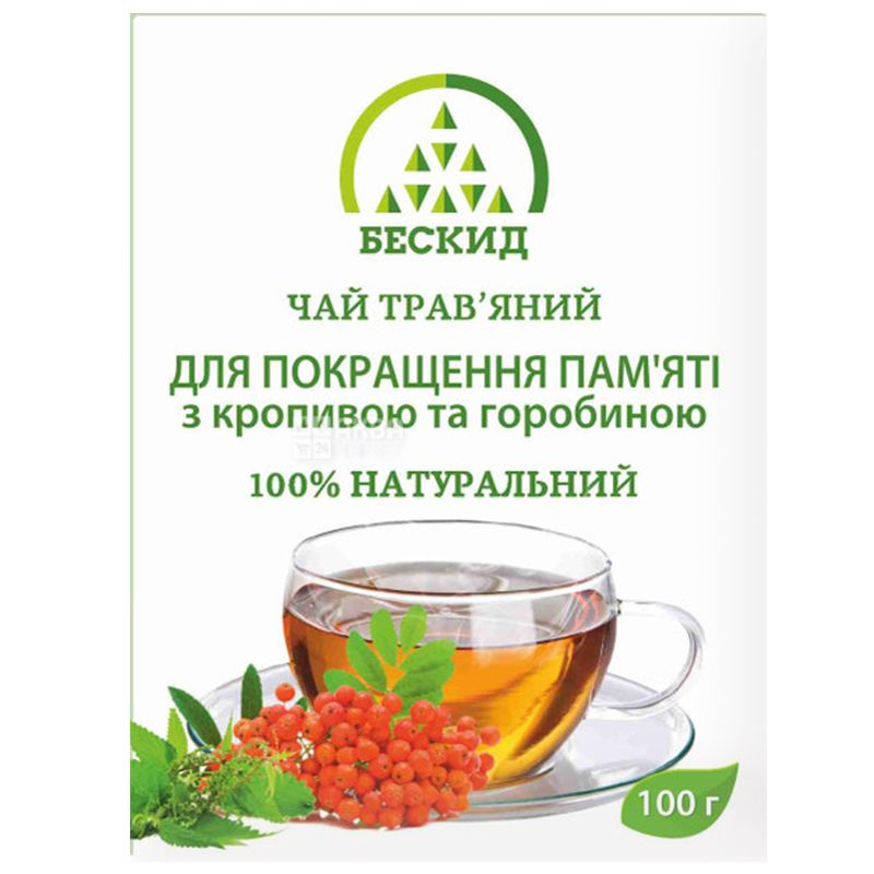 Бескид, 100 г, Чай травяной, Для улучшения памяти, С крапивой и рябиной