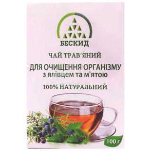 Бескид, Для очищения организма, 100 г, Чай травяной, с можжевельником и мятой