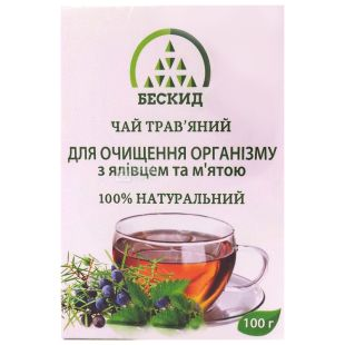 Beskid, 100 g, Herbal tea, For body cleansing, With juniper and mint