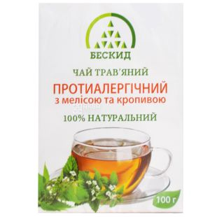 Бескид, Протиалергічний, 100 г, Чай трав'яний, з мелісою і кропивою