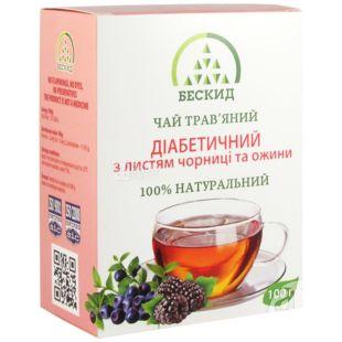 Бескид, Діабетичний, 100 г, Чай трав'яний, з чорницею і ожиною
