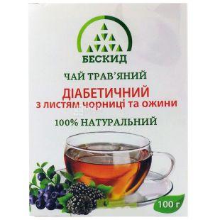 Бескид, Диабетический, 100 г, Чай травяной, с черникой и ежевикой