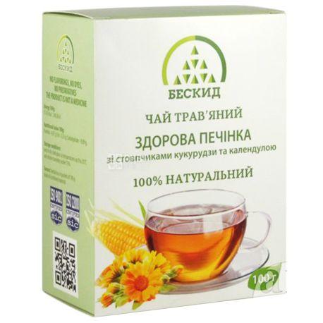 Бескид, Здоровая печень,100 г, Чай травяной, с кукурузными рыльцами и календулой