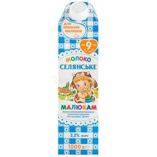 Peasant, 1000 g, 3,2%, Milk, Baby, Ultrapasteurized, Kids, From 9 months